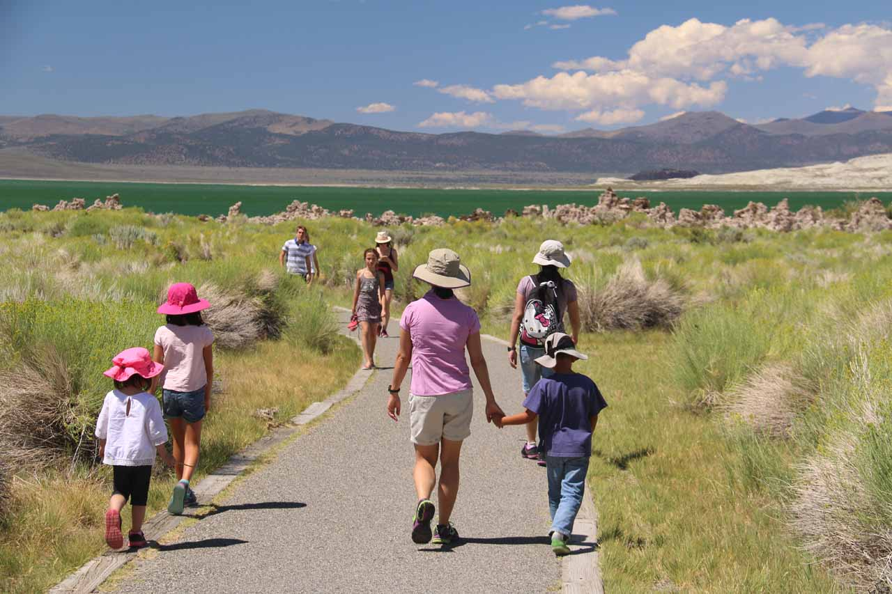 The gang approaches the South Tufa Reserve
