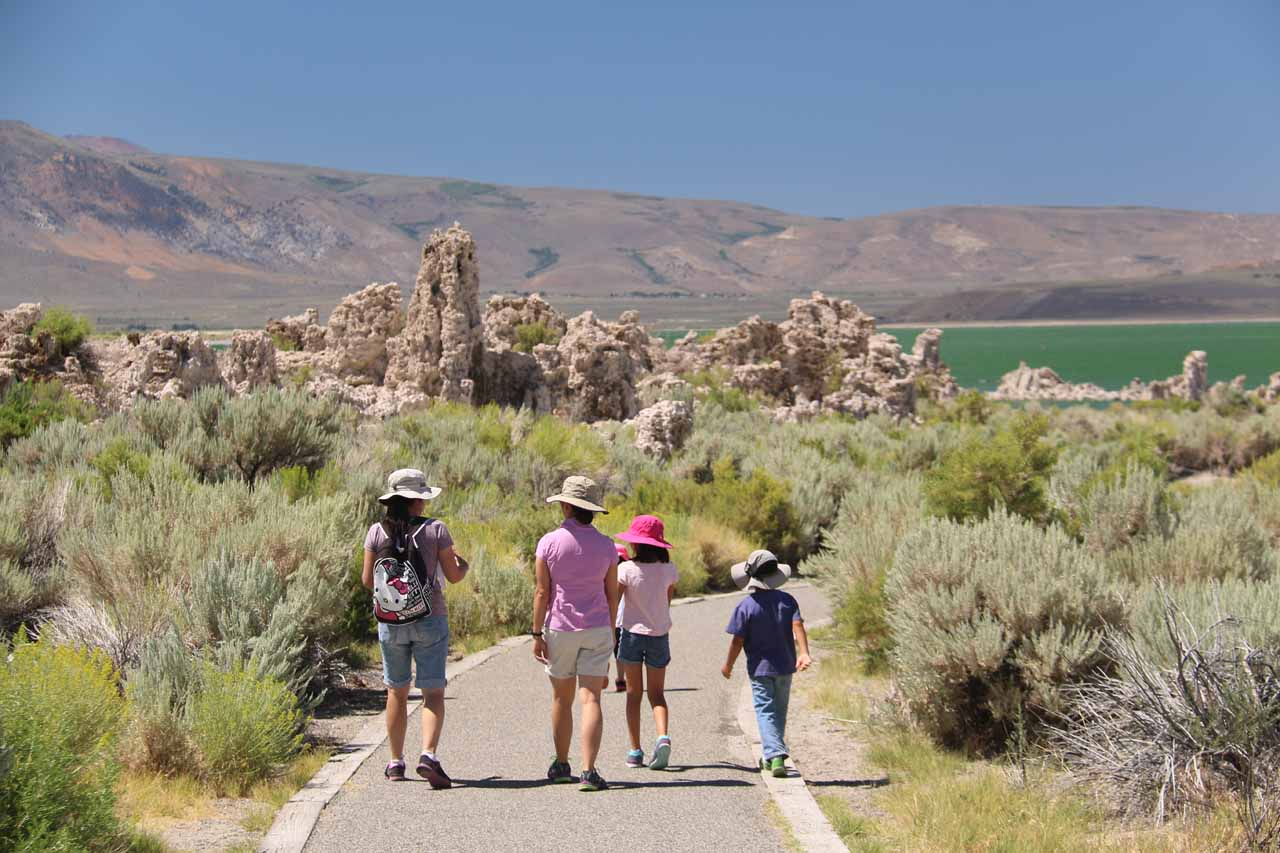 The ladies and their kids getting closer to the tufas on the southern shores of Mono Lake