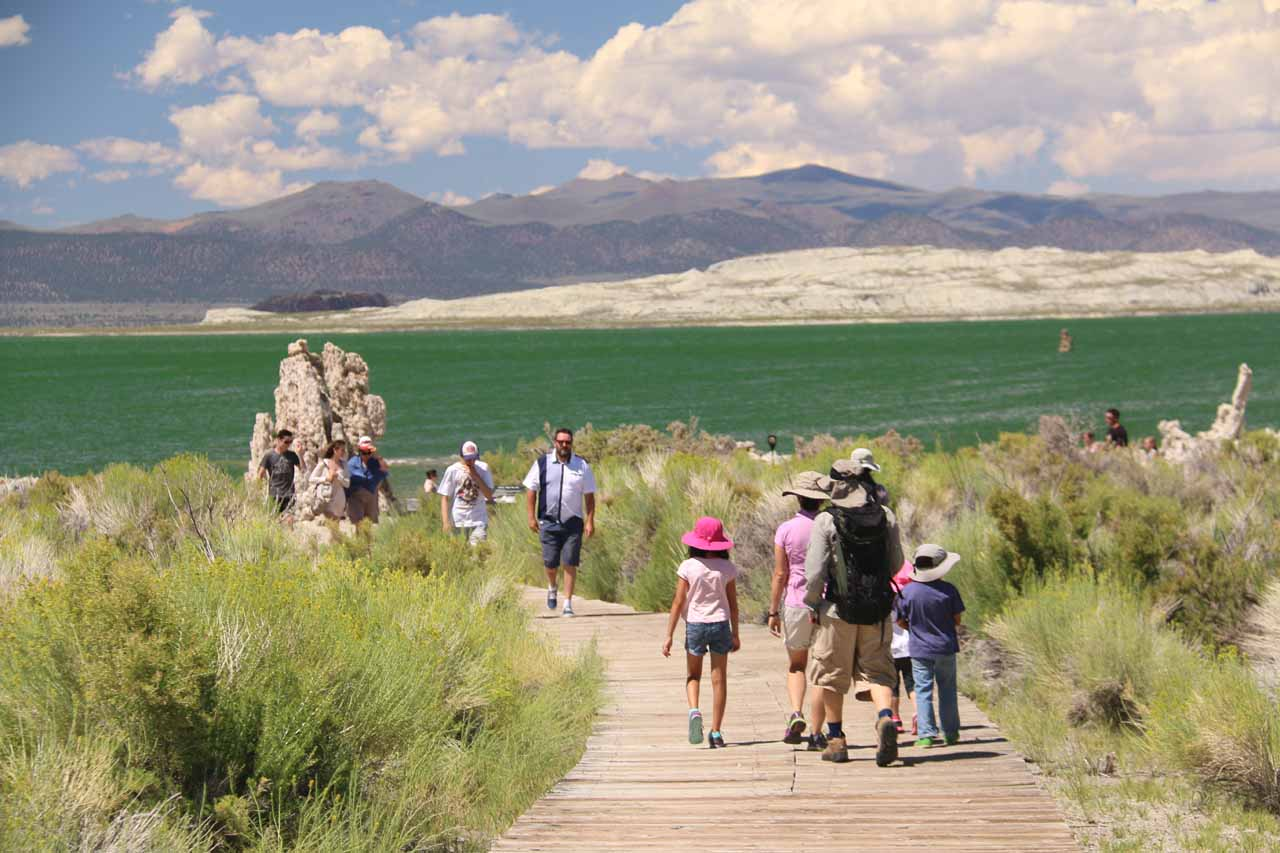 The gang getting closer to the southern shores of Mono Lake