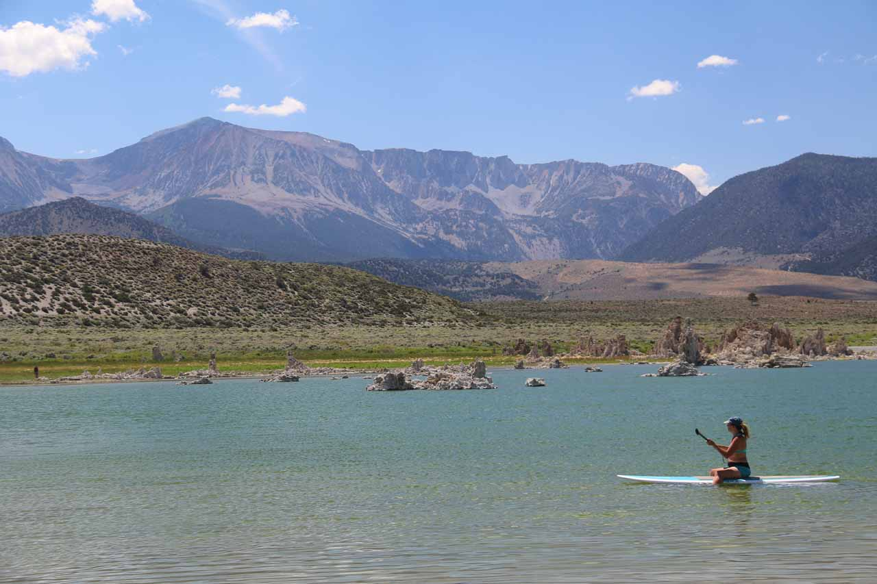 Some lady was paddle boarding on the salty Mono Lake