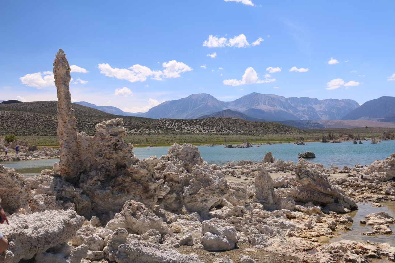 Looking back over some phallic-looking tufa towards the southwestern shores of Mono Lake and the Eastern Sierra Mountains
