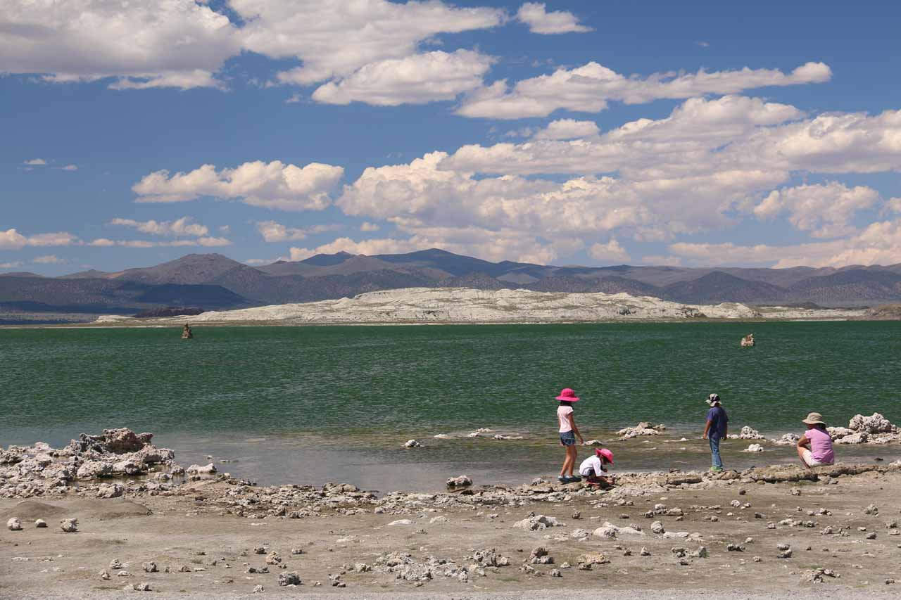 Cindy supervising the kids as they were busy messing around along the southern shores of Mono Lake