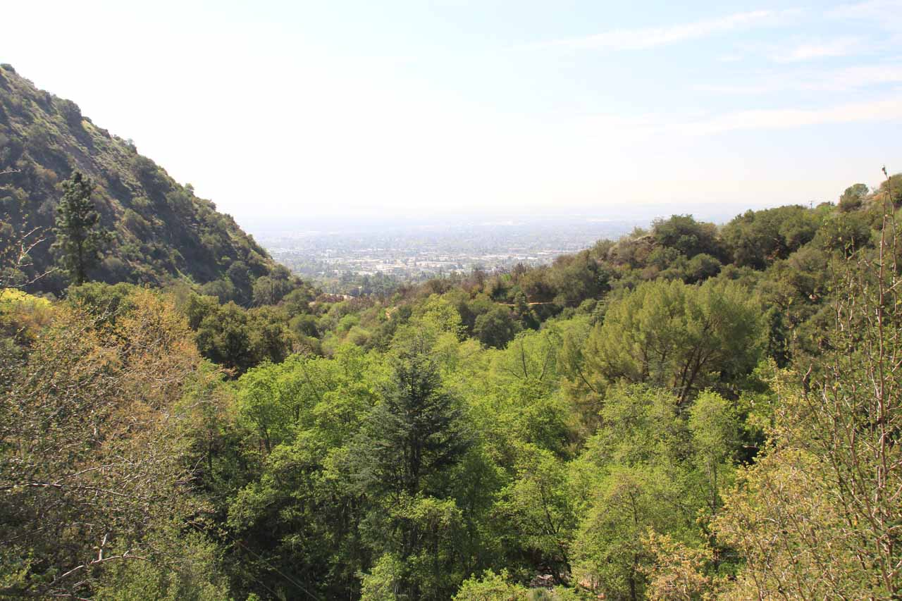View of the Los Angeles Basin from the lookout at the main car park