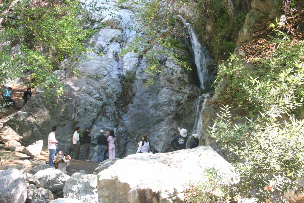 It can get pretty crowded at Monrovia Canyon Falls