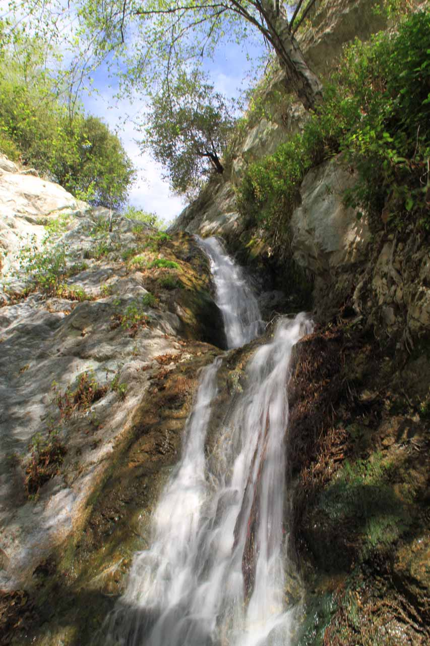 Unusual view towards the top of Monrovia Canyon Falls