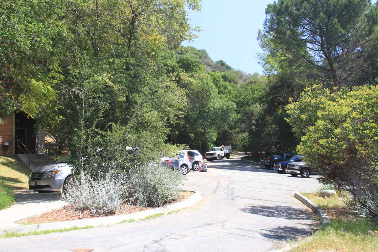 Looking at the surprisingly partially full parking lot at Monrovia Canyon Park