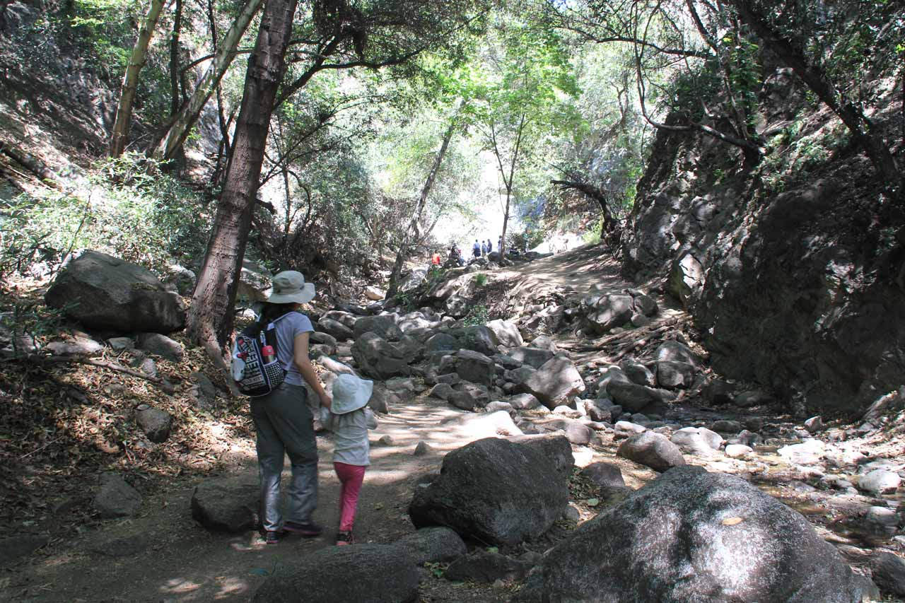 Tahia and Julie approaching the crowd at the end of the trail where Monrovia Canyon Falls was