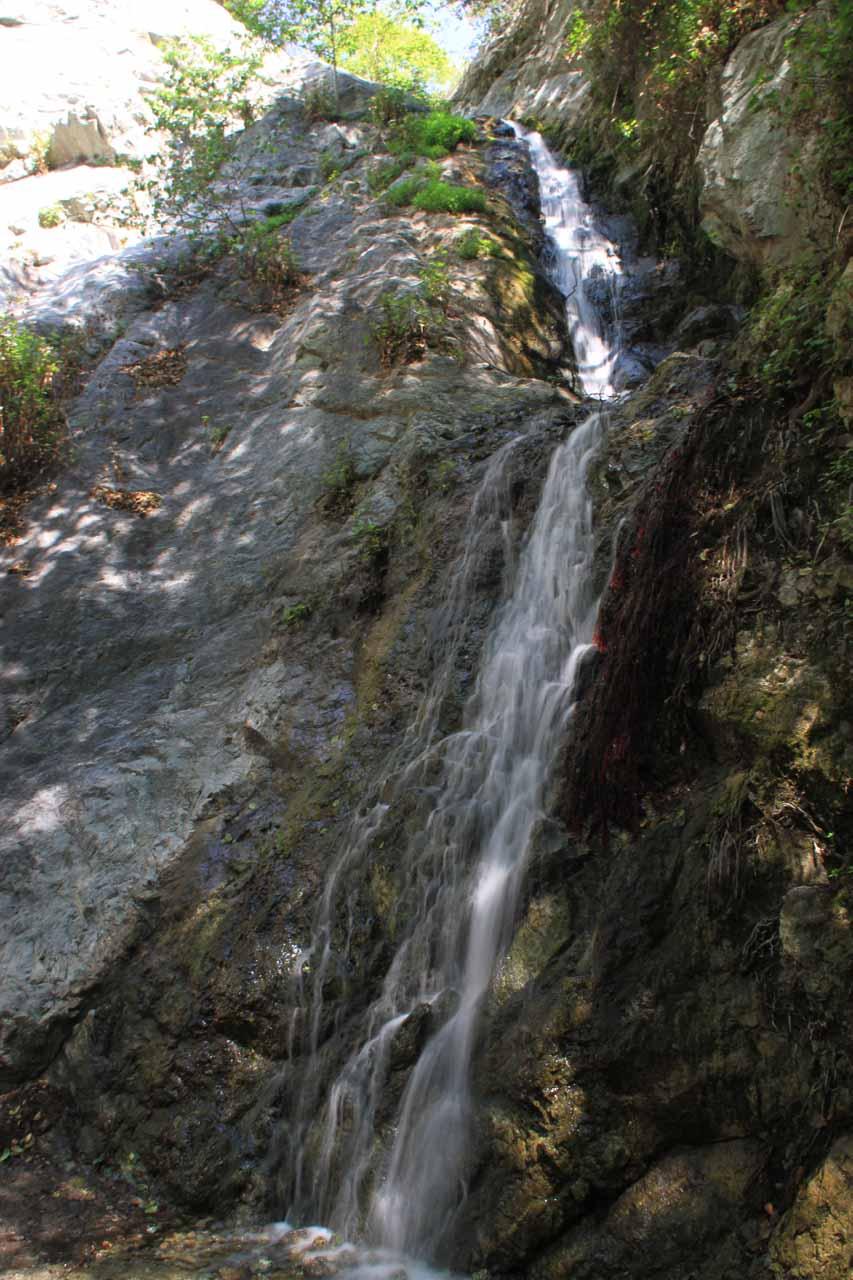 Looking up at Monrovia Canyon Falls from near its base