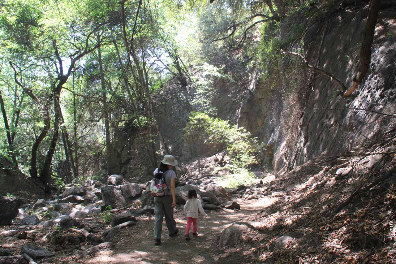 Julie and Tahia making their way back to the trailhead after leaving Monrovia Canyon Falls