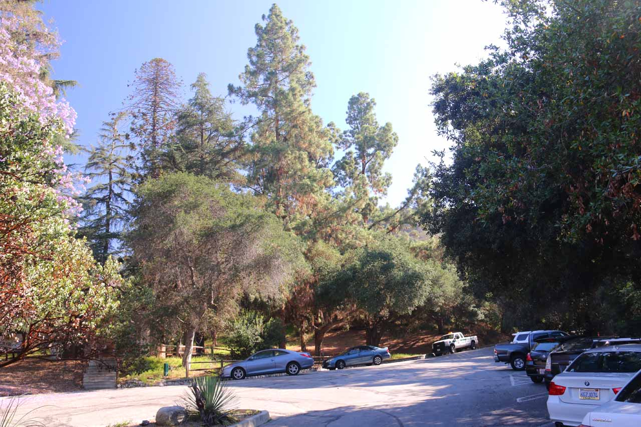 The fairly empty car park for Monrovia Canyon