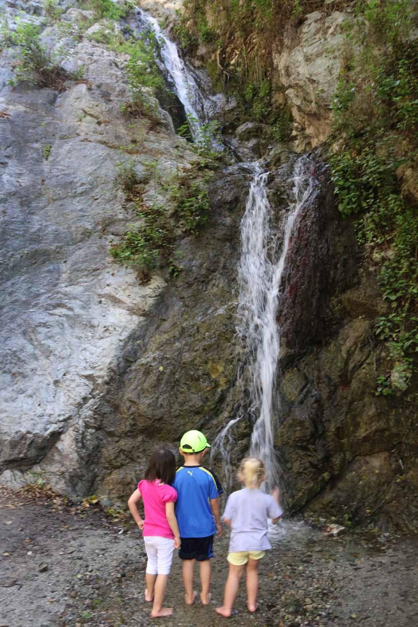 Tahia and Joshua making friends at Monrovia Canyon Falls