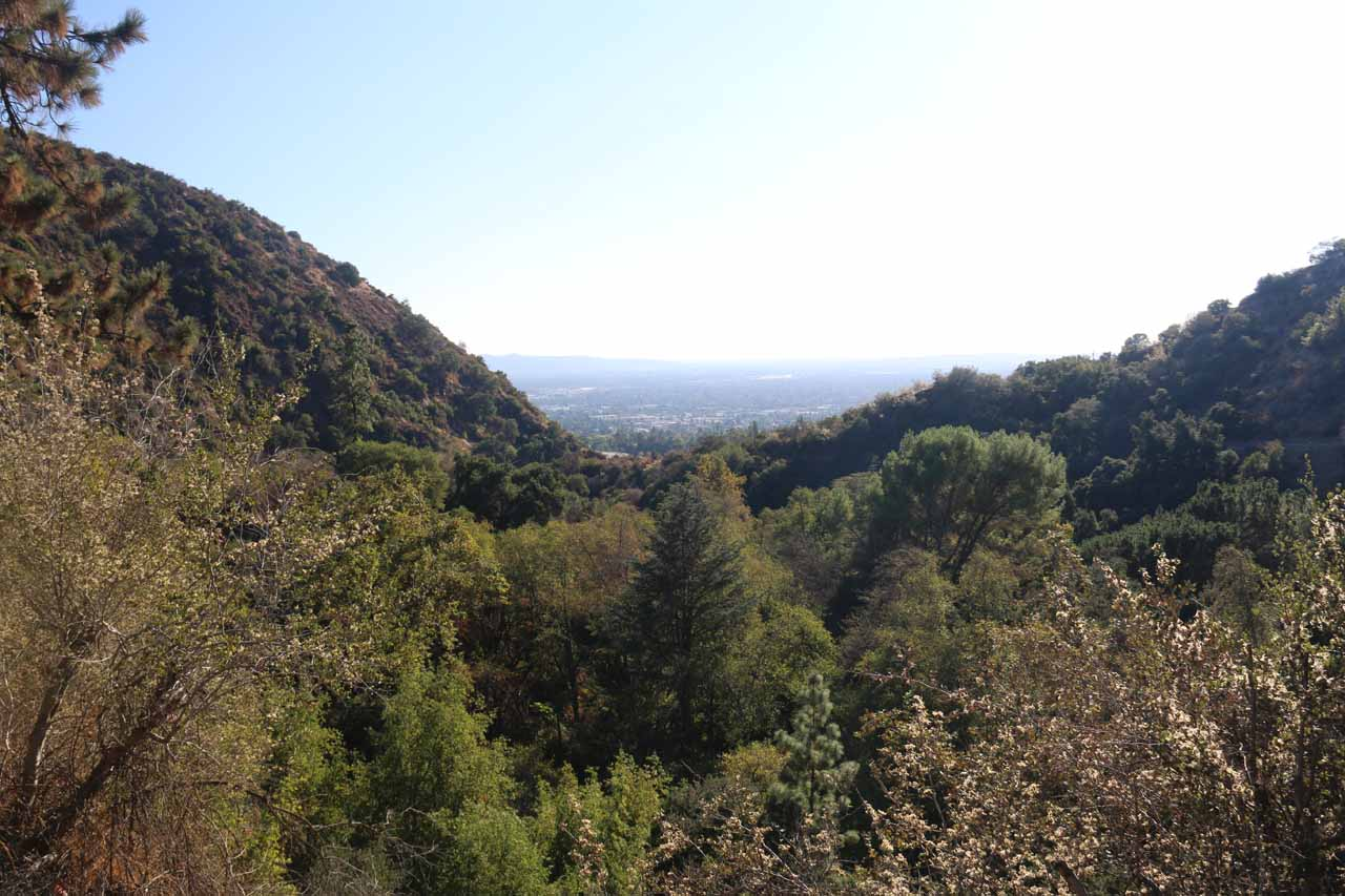 The familiar view towards the LA Basin from the Monrovia Canyon Falls trailhead