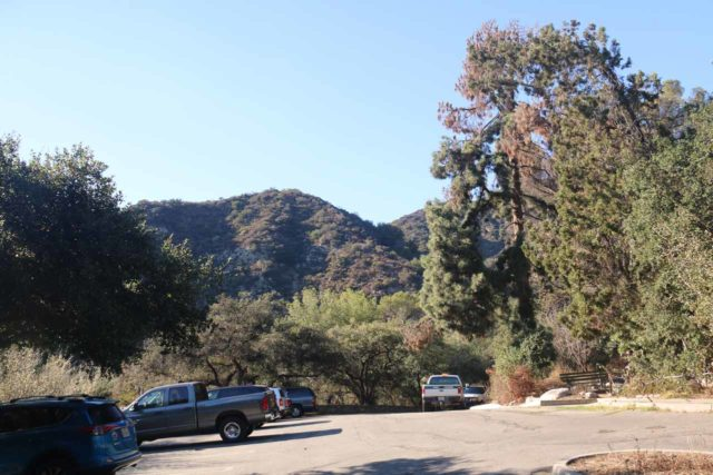 Monrovia_Canyon_Falls_005_11132016 - Looking back at the entrance to the upper parking lot for Monrovia Canyon Park. Just to the left of this photo was the nice overlook towards the Los Angeles Basin