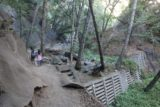 Monrovia_Canyon_Falls_018_11132016 - Context of Julie and Tahia skirting by some of the man-made dams seen along the Monrovia Canyon Falls Trail in November 2016