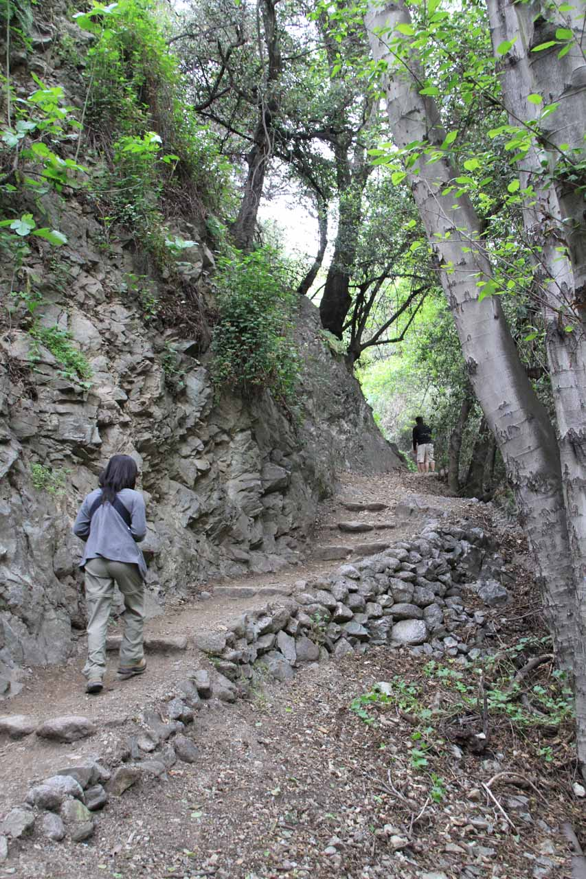 Going uphill with baby in tow