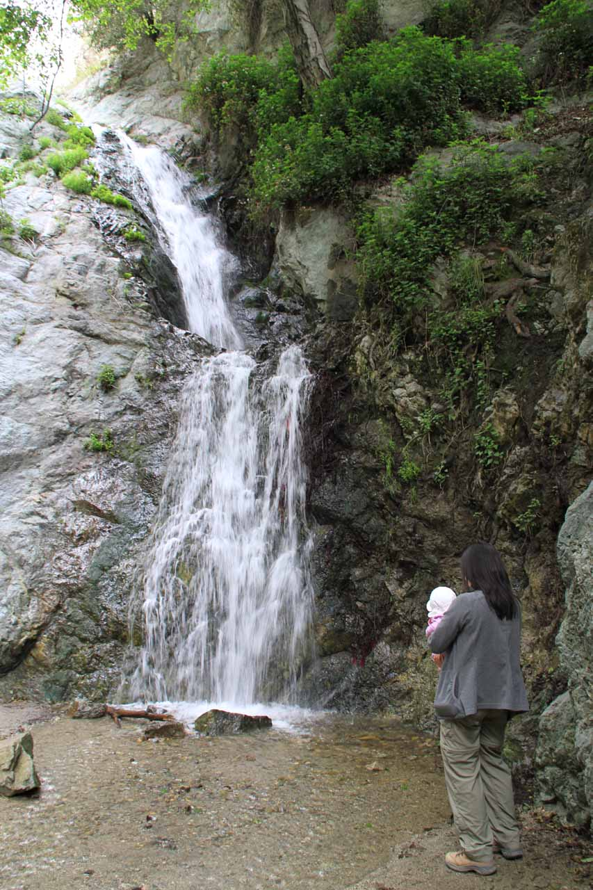 Tahia laying her eyes on a waterfall (Monrovia Canyon Falls) for the first time