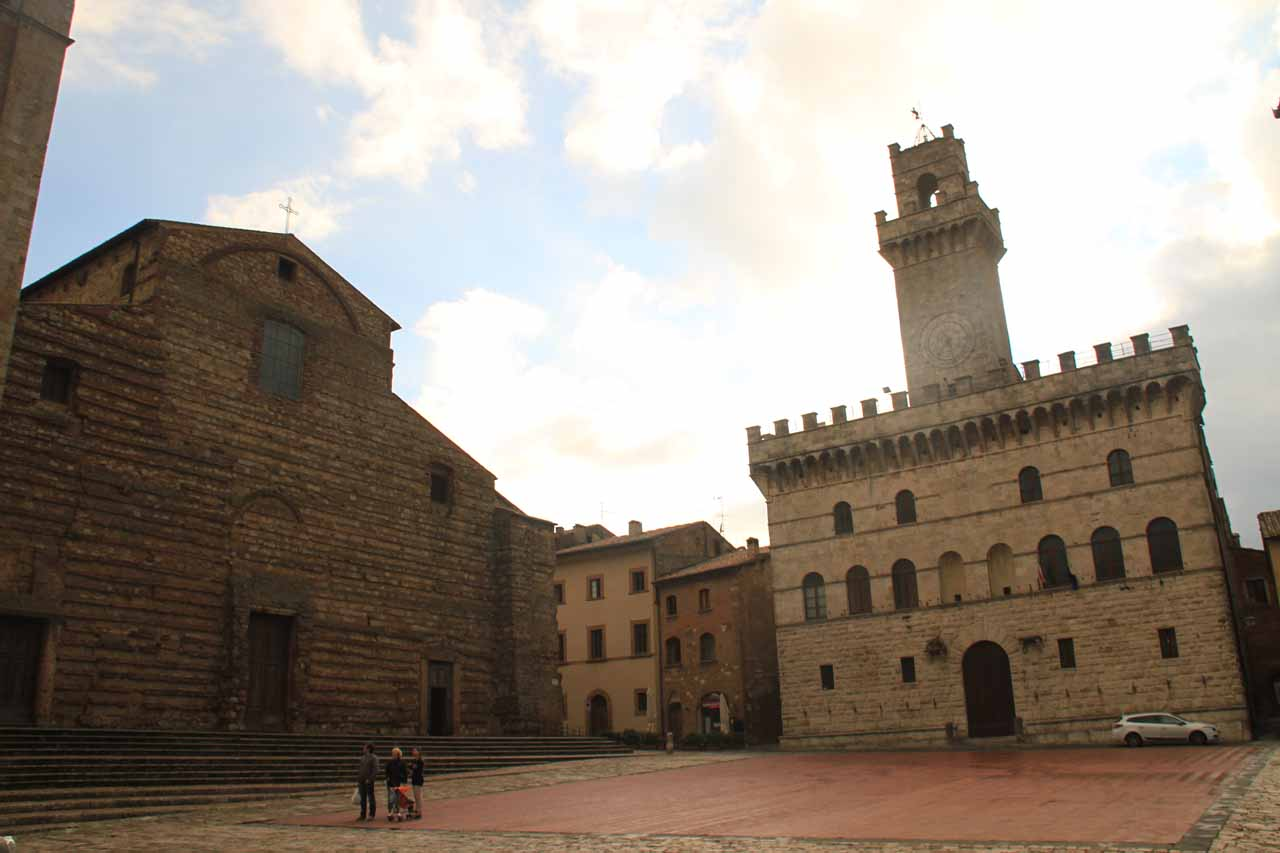 The clock tower in the main piazza at Montepulciano, which was very quiet during our first encounter with it