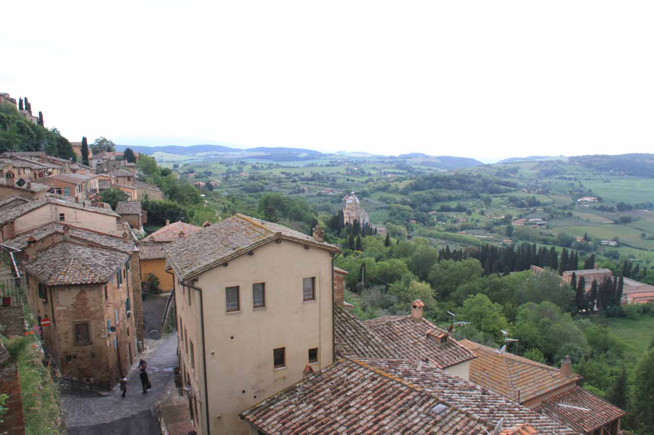 Looking out from our room at the Camere Bellavista in Montepulciano