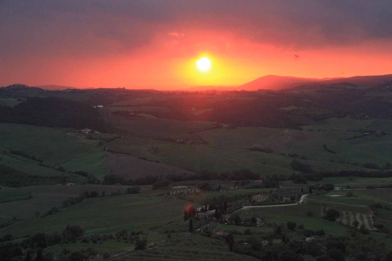 The fiery red sunset that I missed out on while in Montepulciano