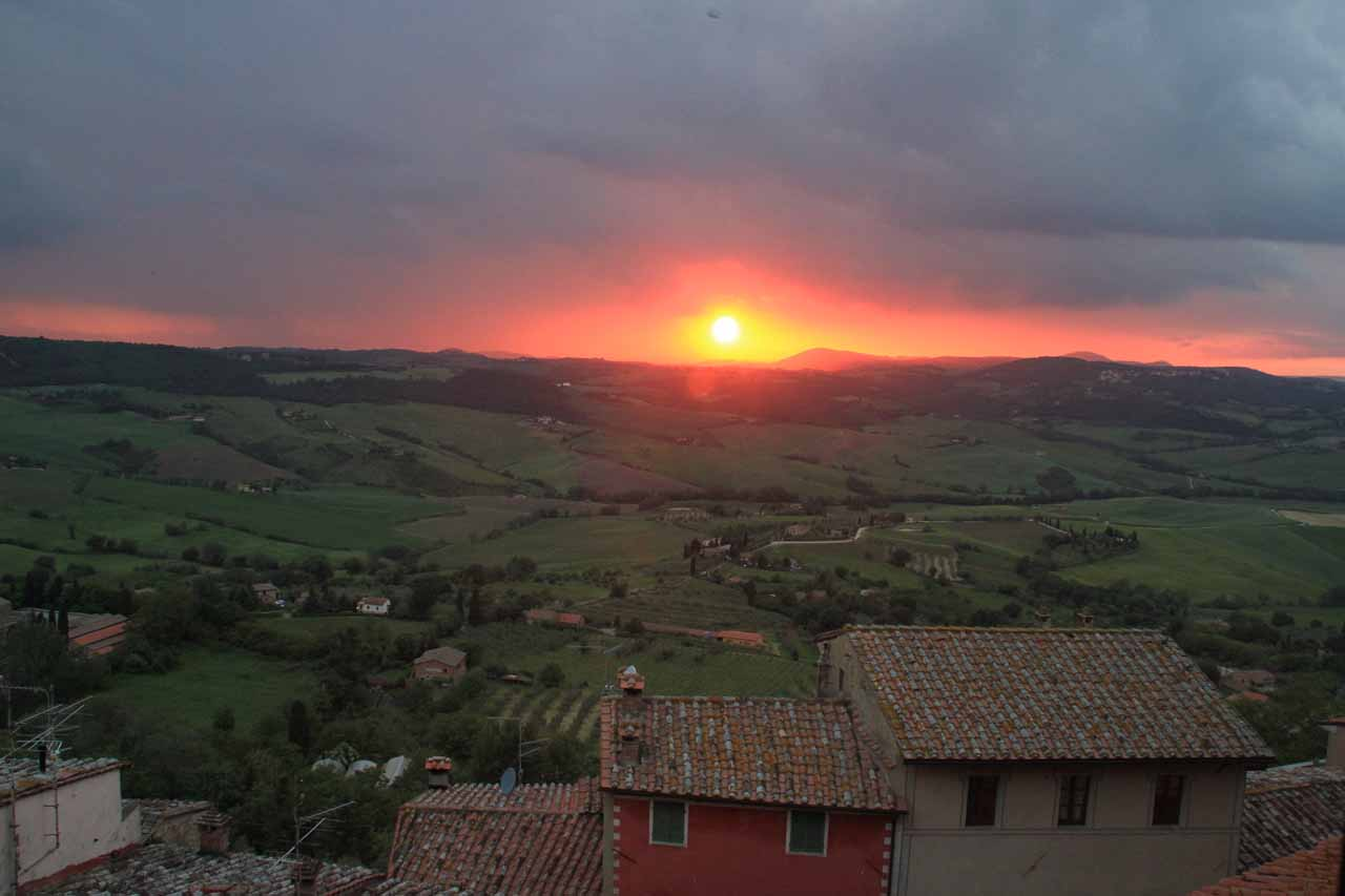 The last of the fiery red sun as seen from our room in Montepulciano
