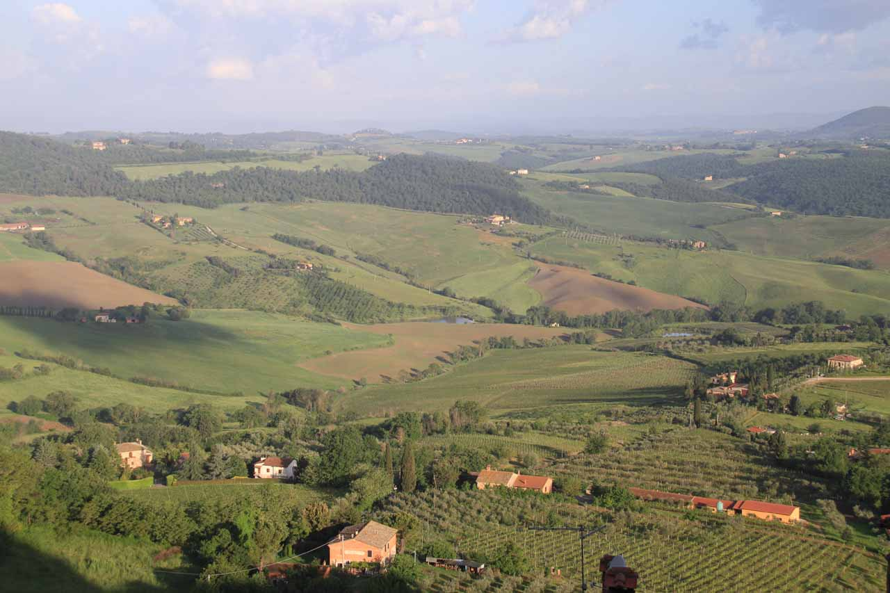 Looking out towards Val d'Orcia from Montepulciano, where we had spent the night after visiting Cascata del Sasso