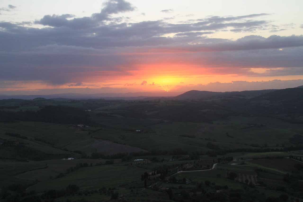 The last of the sun as it faded under the clouds as seen from Montepulciano