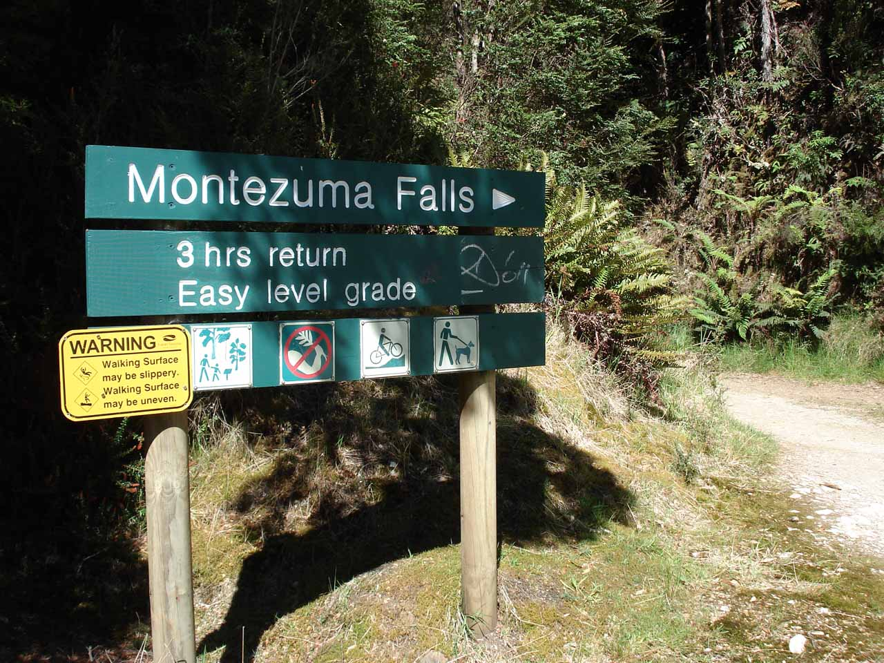 Trailhead sign telling us what would be required to visit Montezuma Falls