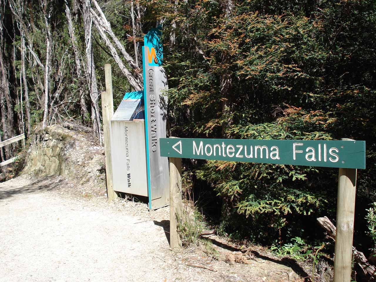 Continuing to follow the signs to embark on the Montezuma Falls hike