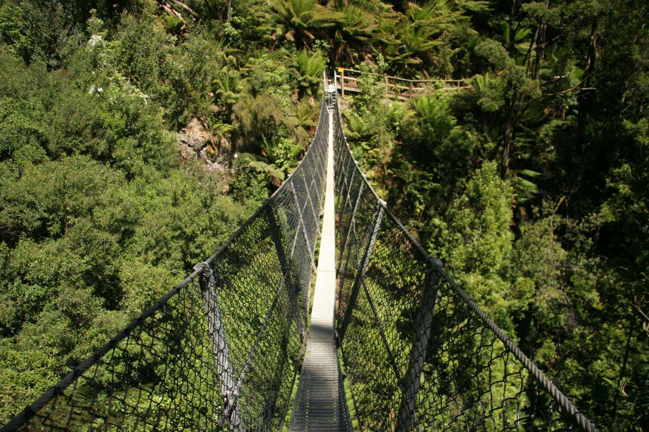 Looking across the scary suspension bridge fronting Montezuma Falls