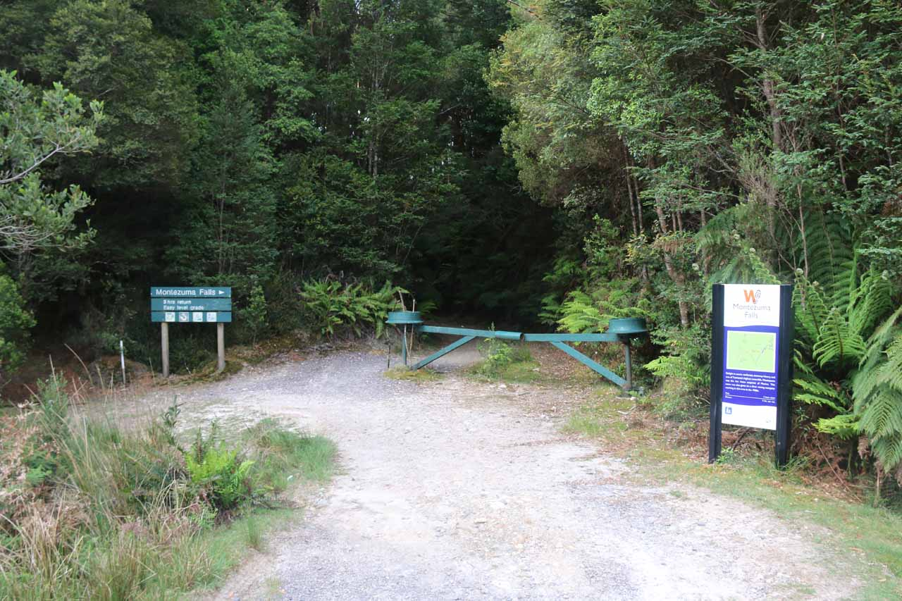 Signage and gate at the Montezuma Falls trailhead