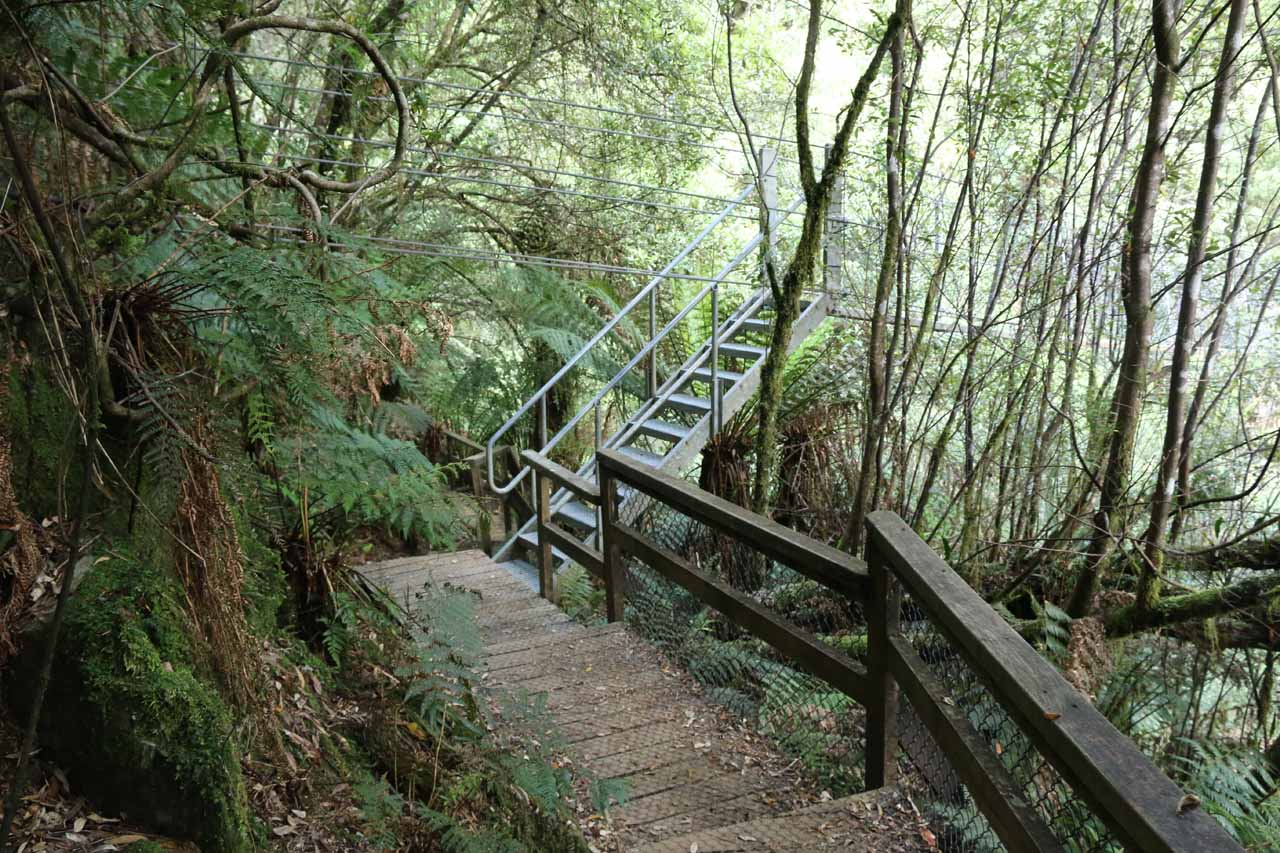 Not far beyond the mine shaft entrance were steps leading to one end of the suspension bridge