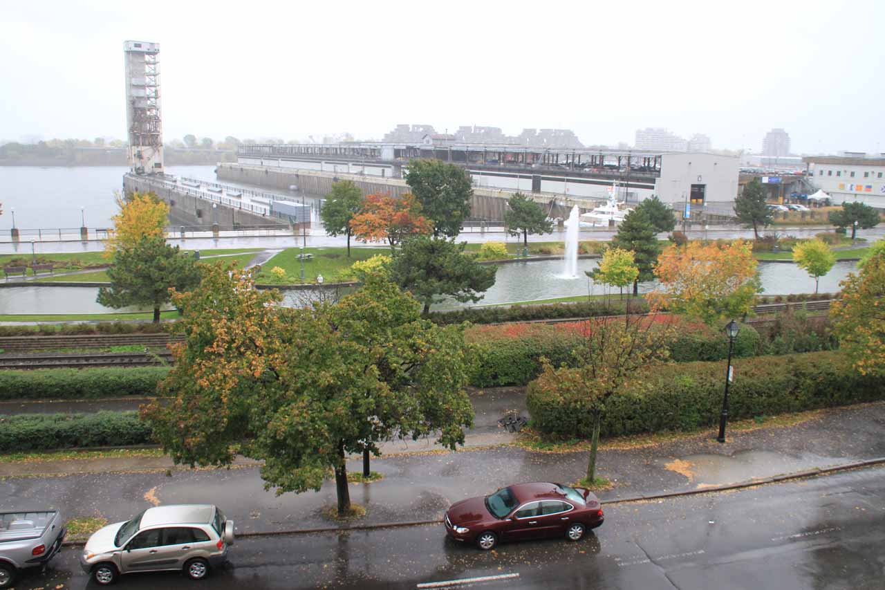 Looking outside our room at the rain falling into the Old Port of Montreal