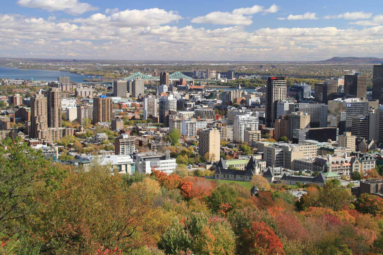 The Chutes de Sainte-Ursule was between 1-2 hours drive from Montreal, which was a pleasant city to visit as shown here from the vista at Mont Royal