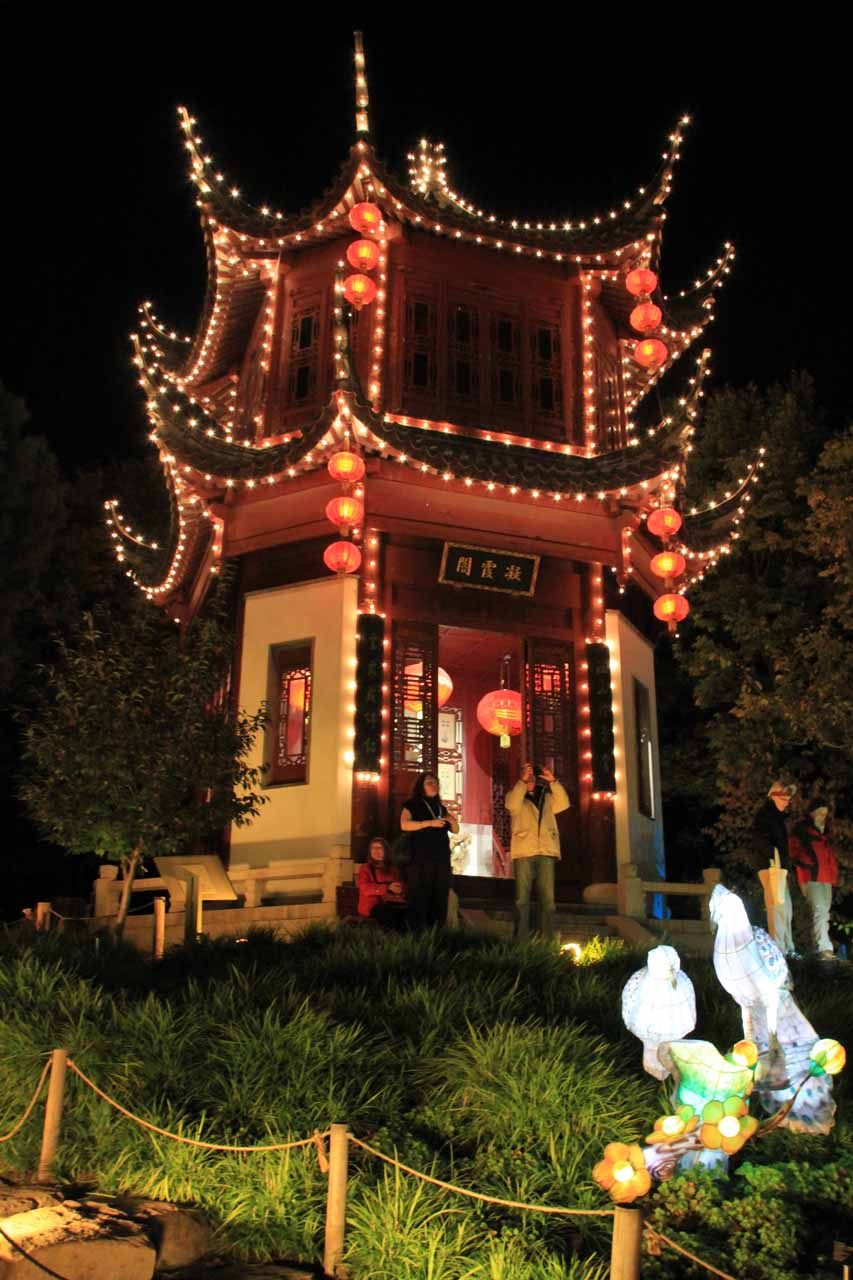 A lit up pagoda