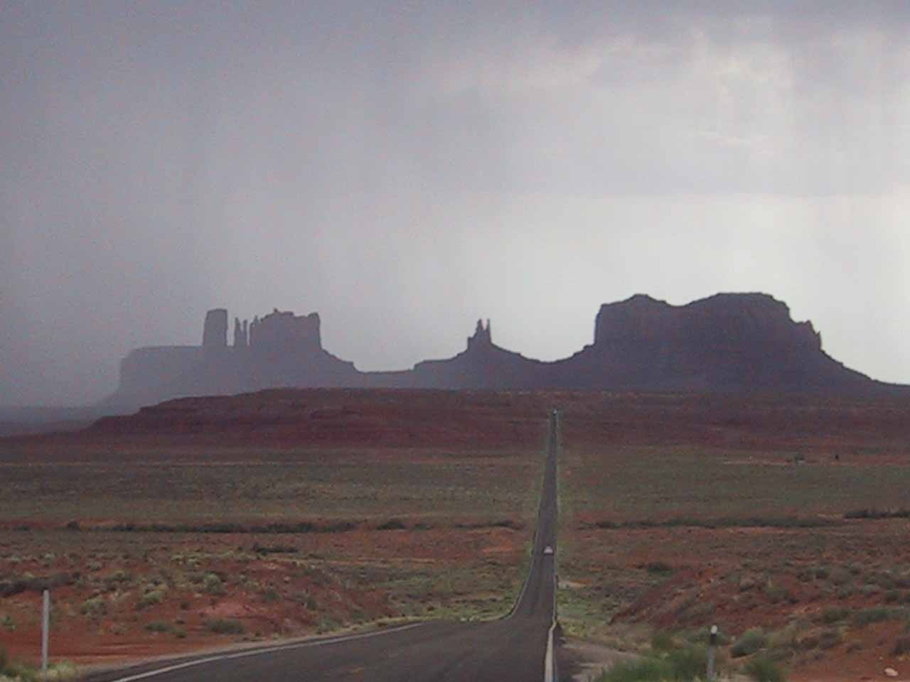 Approaching Monument Valley in a pretty intense desert thunderstorm