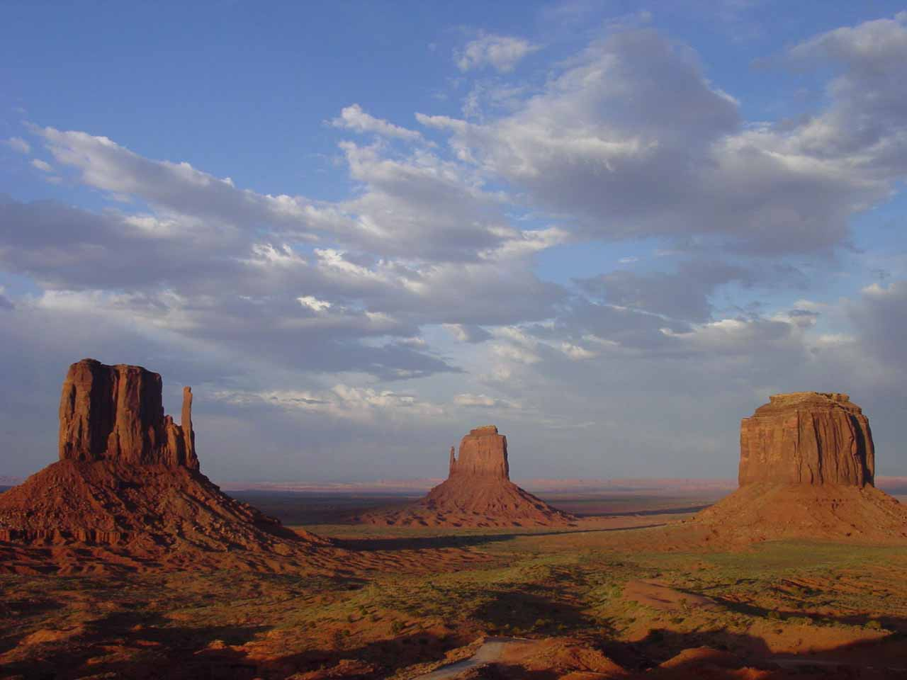 Monument Valley painted red by the setting sun