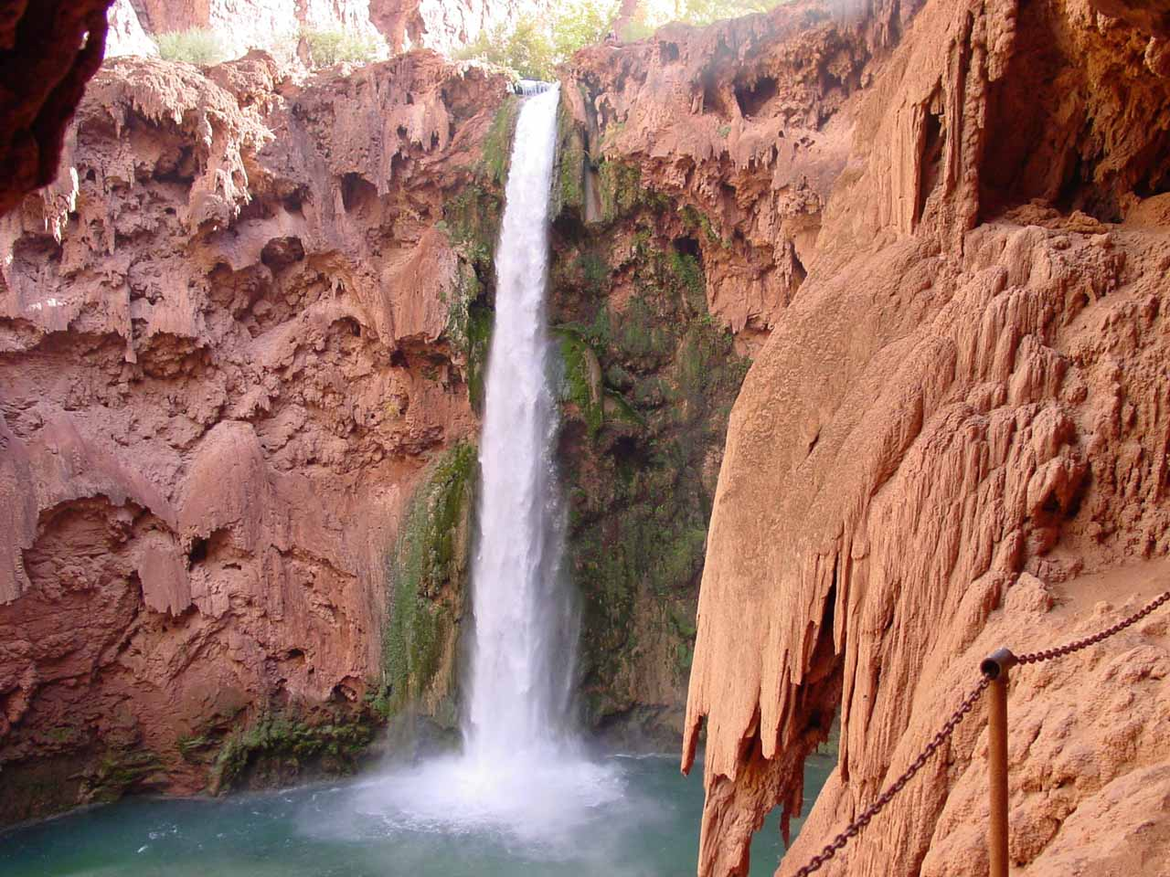 View of Mooney Falls from between the two tunnels