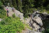 Moose_Falls_033_08062020 - Looking down at the context of the many people that showed up when we made our August 2020 visit to Moose Falls
