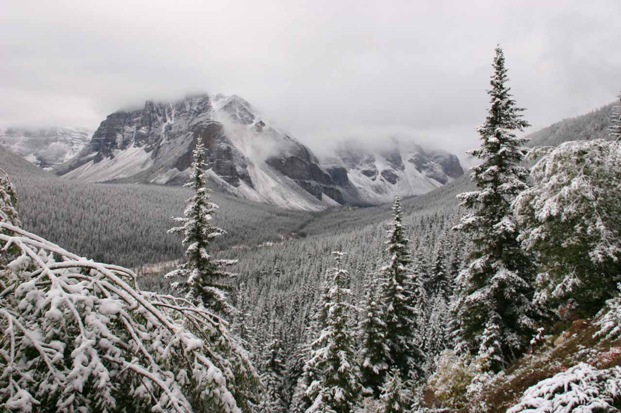 The early winter scene on the way to Moraine Lake