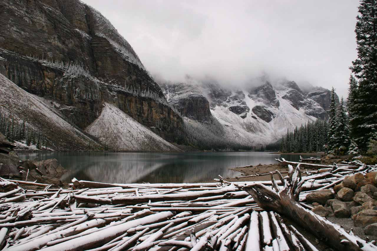 Moraine Lake also looking like a Winter Wonderline except the fog obscured the otherwise surreal panorama
