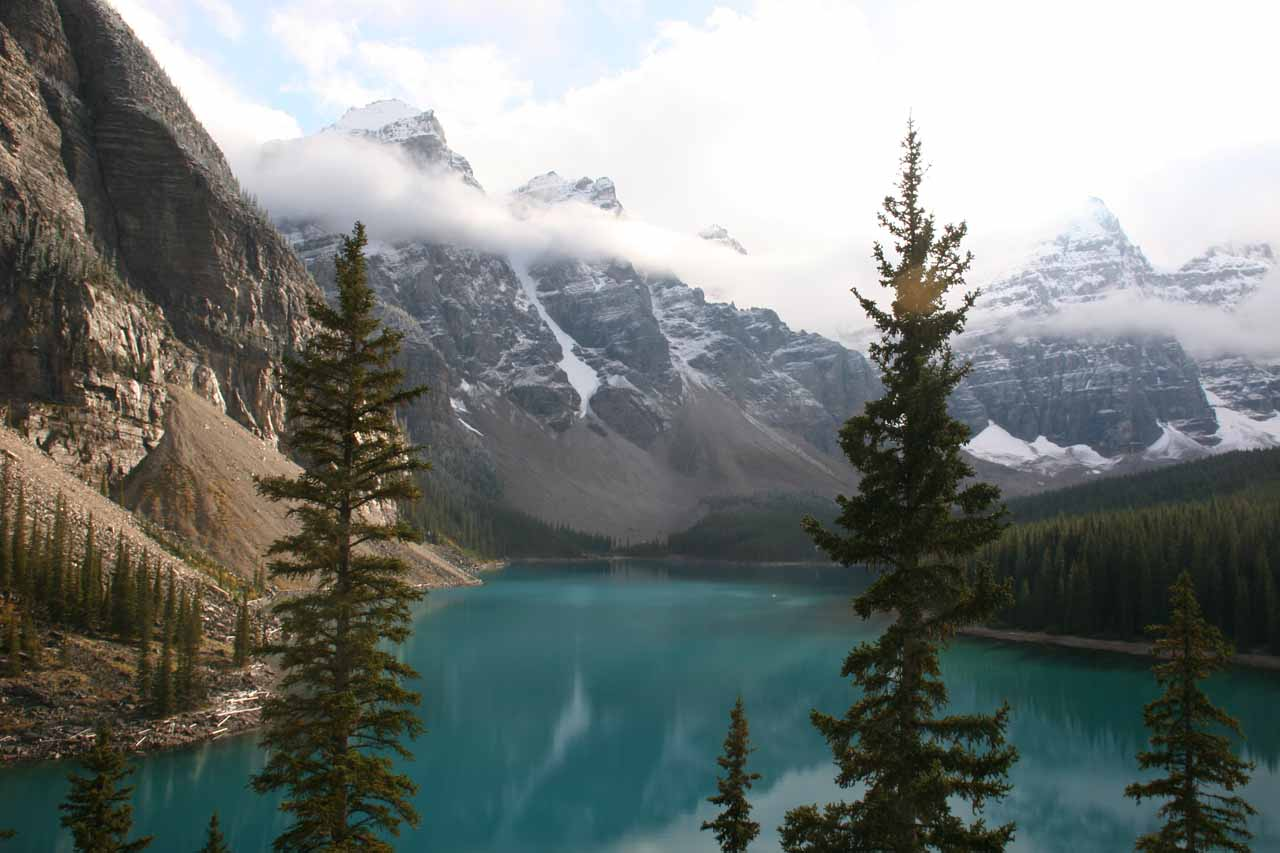 Later in the day when the weather improved from earlier in the morning when we visited Wapta Falls, we made a visit to Moraine Lake, which was near Lake Louise