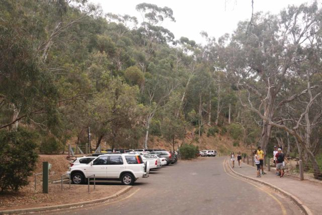 Morialta_Falls_007_11102017 - Looking back at the closest parking spaces to the trailhead for the Morialta Waterfalls Track