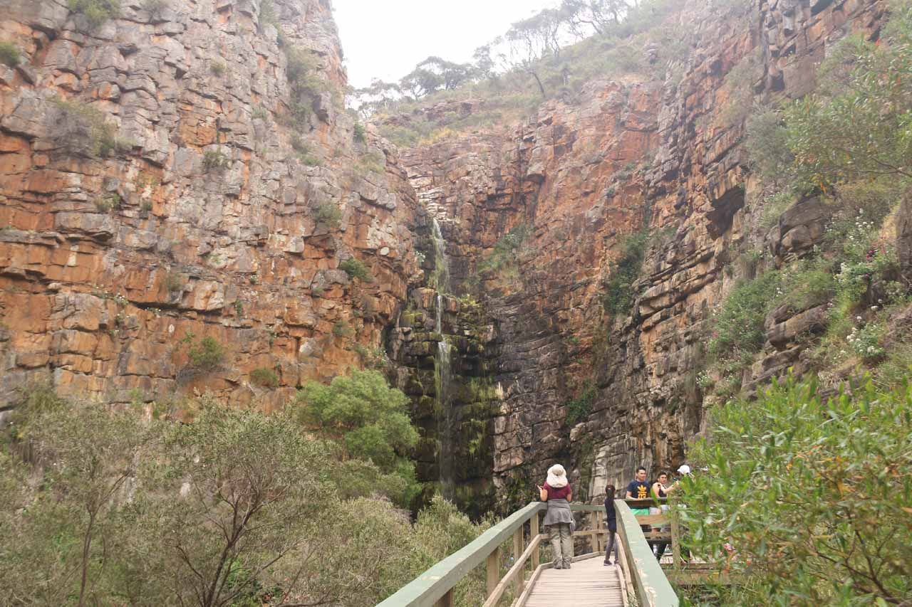 Julie approaching the first of the Morialta Waterfalls