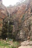 Morialta_Falls_042_11102017 - Some people hopped the railings and got closer to the Morialta Falls to cool off.  This photo shows how big the falls was as it towered over these weekenders