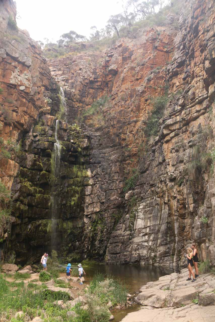 Some people hopped the railings and got closer to the Morialta Falls to cool off.  This photo shows how big the falls was as it towered over these weekenders