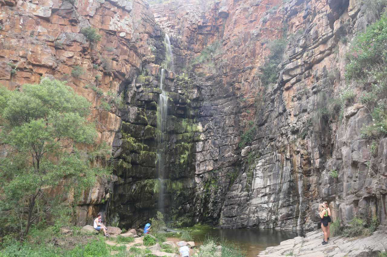 As you can see in this photo, the first of the Morialta Waterfalls spilled over a giant step in the gorge, which meant that there was no further progress on the valley walk. This was why visiting the Second and Third Falls required a separate hike that climbed out of the valley and onto the plateau