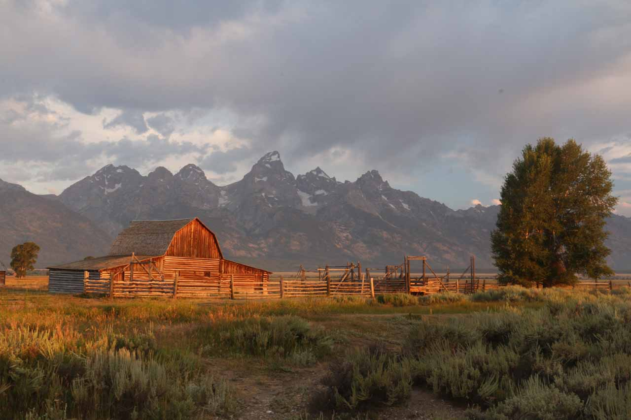 Further to the south from Lewis Falls was the Grand Teton National Park, where the impressive skyline of the Tetons themselves could be seen fronted by various subjects like the Mormon Row barns