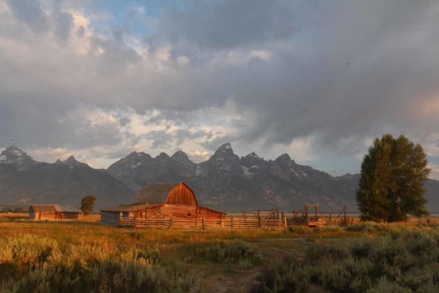 Mormon_Row_055_08132017 - The Grand Tetons was best experienced in the morning since most of the mountains faced east. If the weather cooperated, then it would be the time to take those picture perfect postcard shots