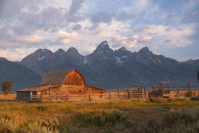 Mormon_Row_068_08132017 - One of the most popular spots to try to photograph the Grand Teton Mountains at sunrise was the so-called Mormon Row, where historical barns were foreground subjects to the imposing skyline