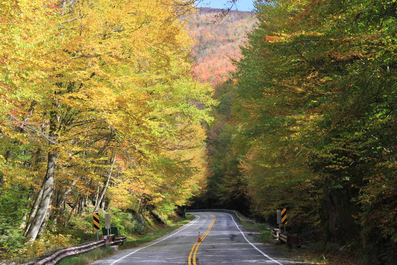 The VT-100 highway near Moss Glen Falls by Granville